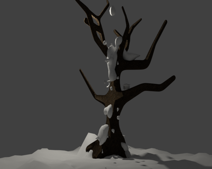 a snowy tree created in blender
